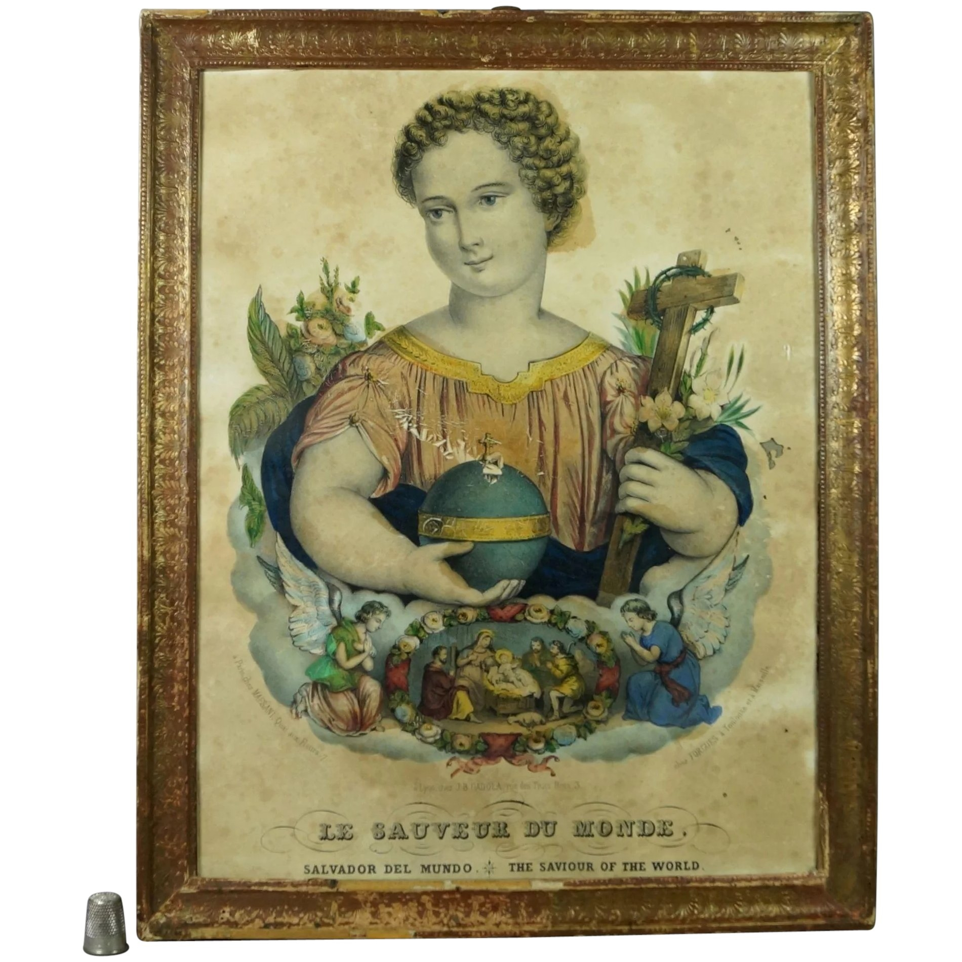 19th century french religious lithograph print circa 1840 shab chic beautiful salvador mundi
