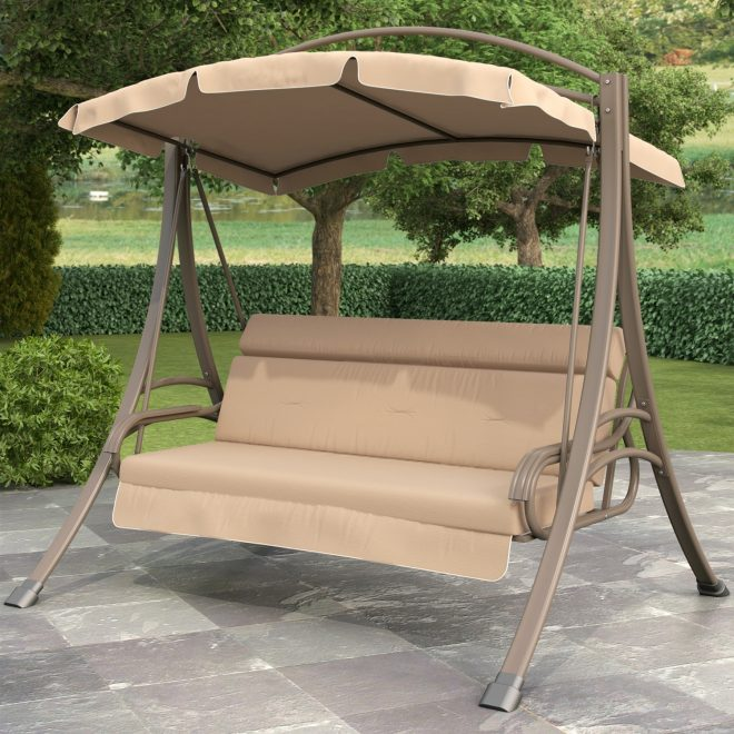 3 person outdoor porch swing with canopy in beige tan brown