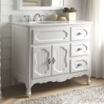 42 inch bathroom vanity cottage beadboard style white color