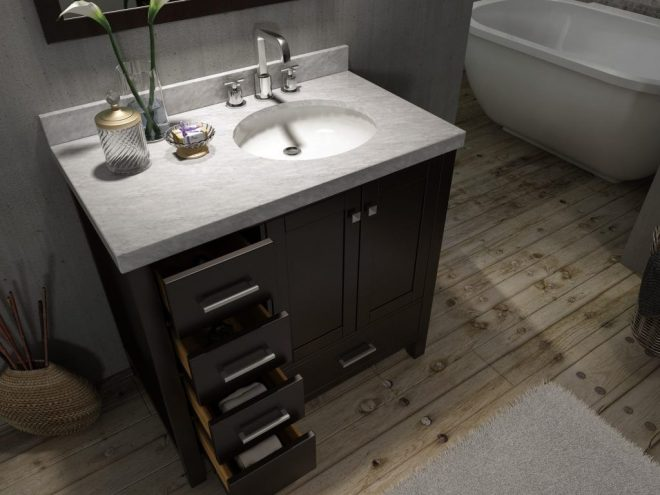 42 inch bathroom vanity with offset sink saving to show how mirror