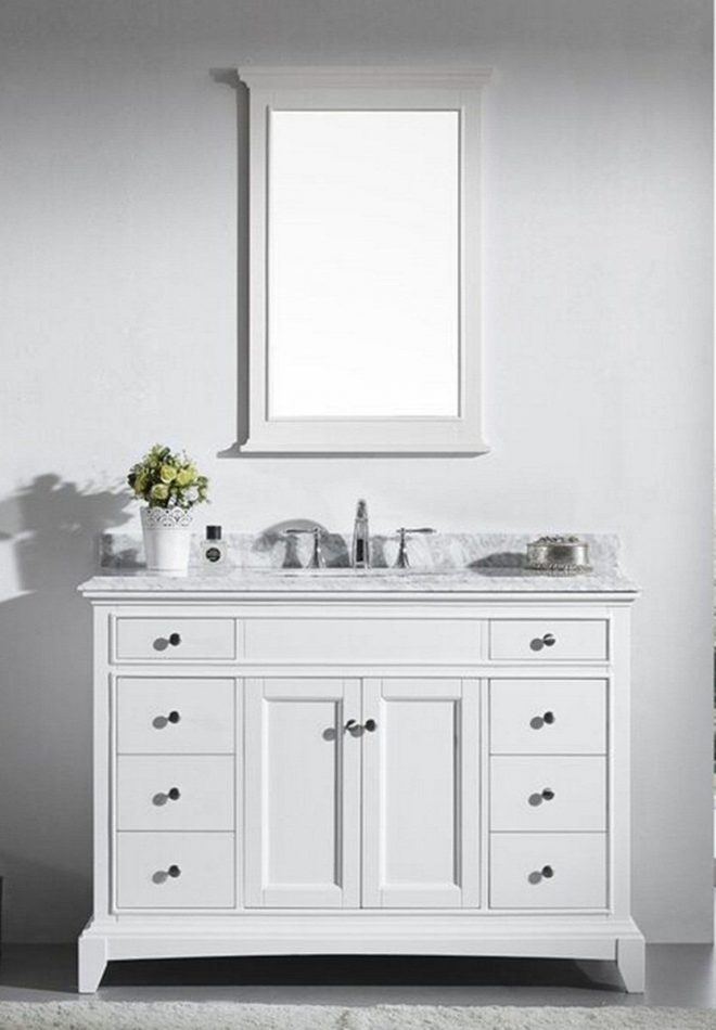 48 inch white bathroom vanity set with white carrera marble top