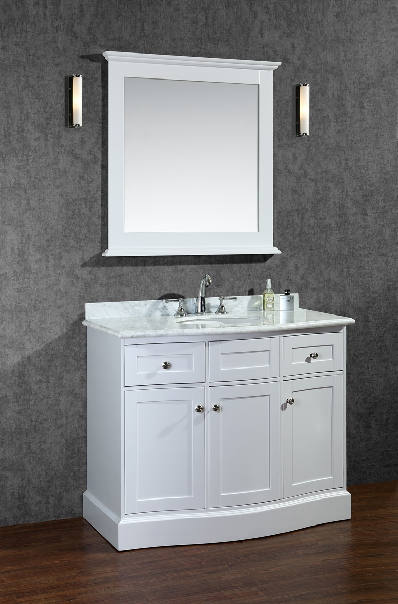ace montauk 42 inch single sink bathroom vanity set alpine white finish