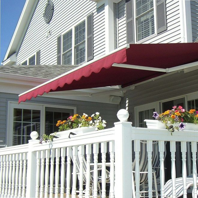 aleko motorized retractable outdoor patio awning sunshade red