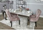 alyssa marble dining table inc four pink dining chairs