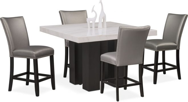 artemis counter height dining table and 4 upholstered stools gray