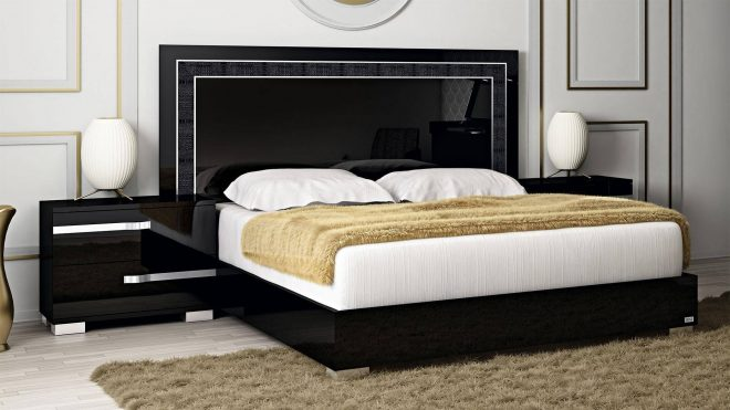 at home usa volare glossy black king bedroom set 3pcs contemporary made in italy