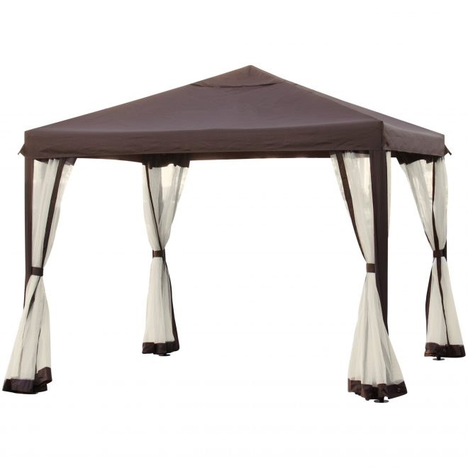 best choice products 10x10ft outdoor garden patio canopy gazebo w fully enclosed mesh insect screen brown