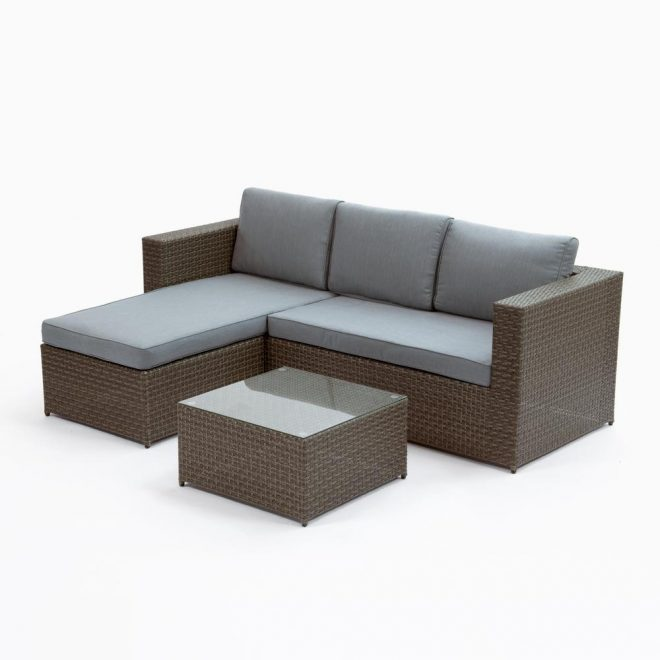 cayo coco brown 3 piece plastic outdoor sectional set with grey cushions