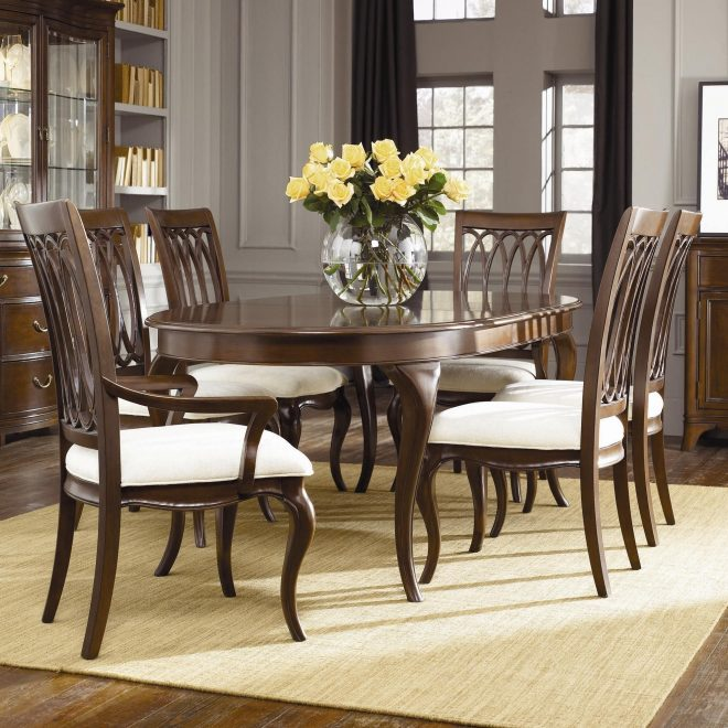 cherry grove oval table with slat back chairs american drew