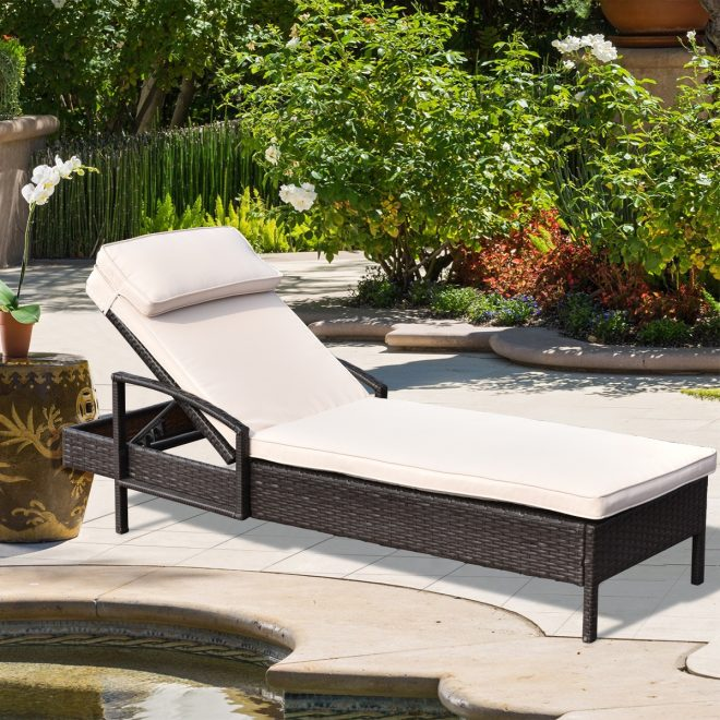 costway chaise lounge chair brown outdoor wicker rattan couch patio furniture wpillow