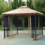 costway costway 2 tier 10x10 gazebo canopy tent shelter awning