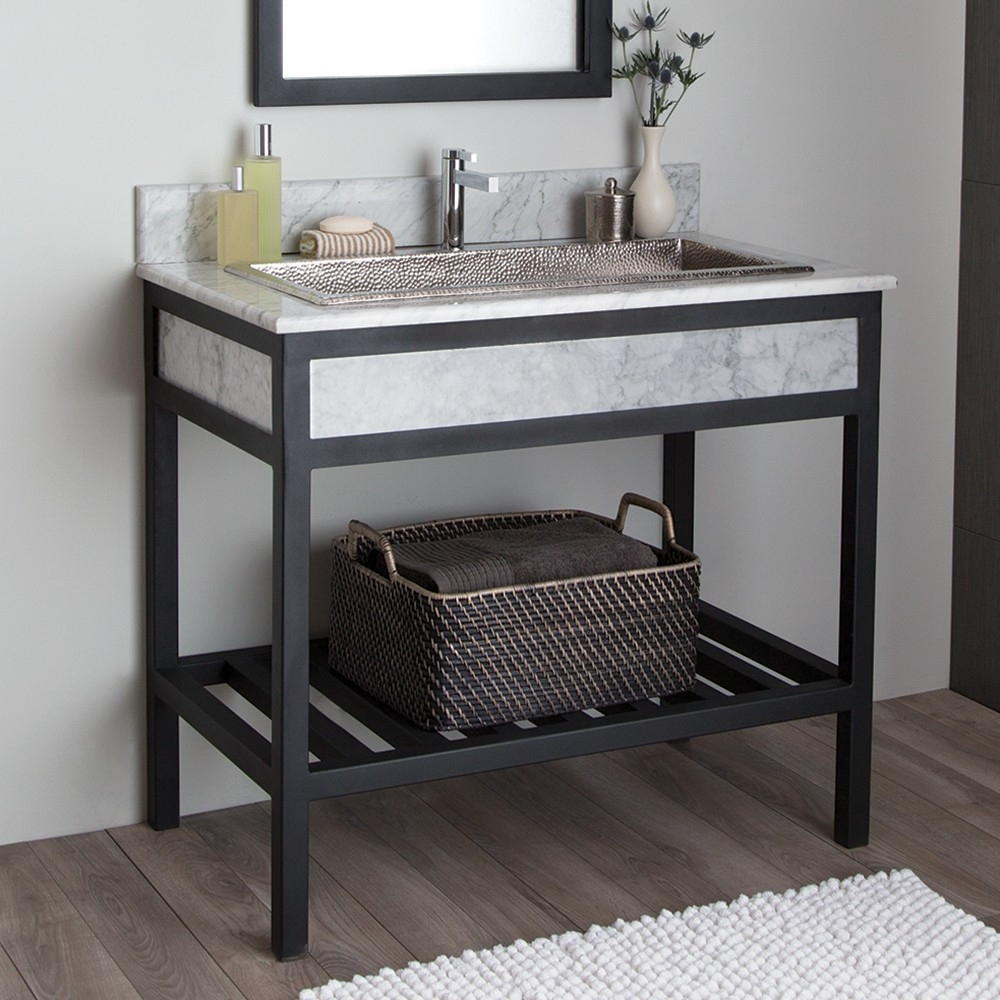 cuzco bathroom vanity base with carrara marble native trails