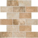 daltile grand cayman oyster blend 12 in x 12 in x 8 mm ceramic brick joint mosaic floor and wall tile 0833 sq ft piece