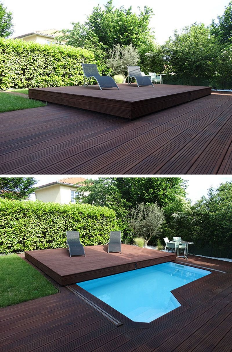 deck design idea this raised wood deck is actually a sliding pool