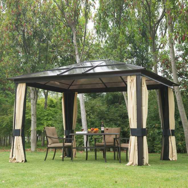 details about 12x10 outdoor patio canopy party gazebo shelter hardtop w mesh and curtains