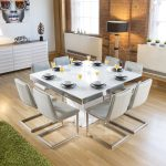 details about large square white glass gloss dining table 8 ice cantilever chairs