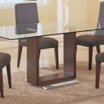 dining room simple rectangle glass top tables with wood base table