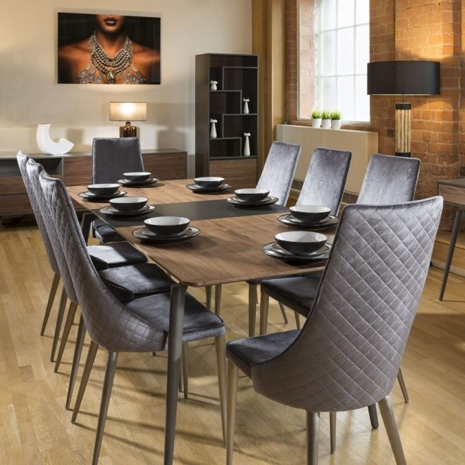 extending dining table set walnut grey 8 high back grey chairs
