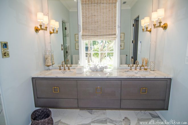 gray wash vanity cabinet gold square ring pull hardware bathroom