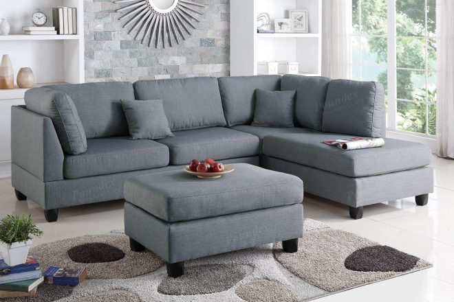 grey fabric sectional sofa and ottoman steal a sofa furniture