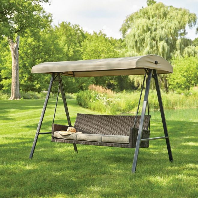 hampton bay plaistow 3 person wicker outdoor swing with canopy
