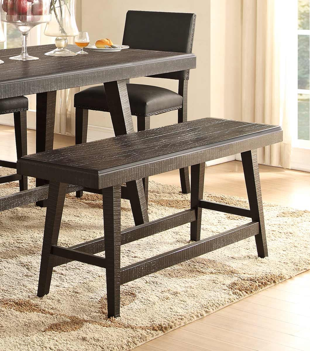 homelegance fenwick 60 inch counter height bench dark gray 5480