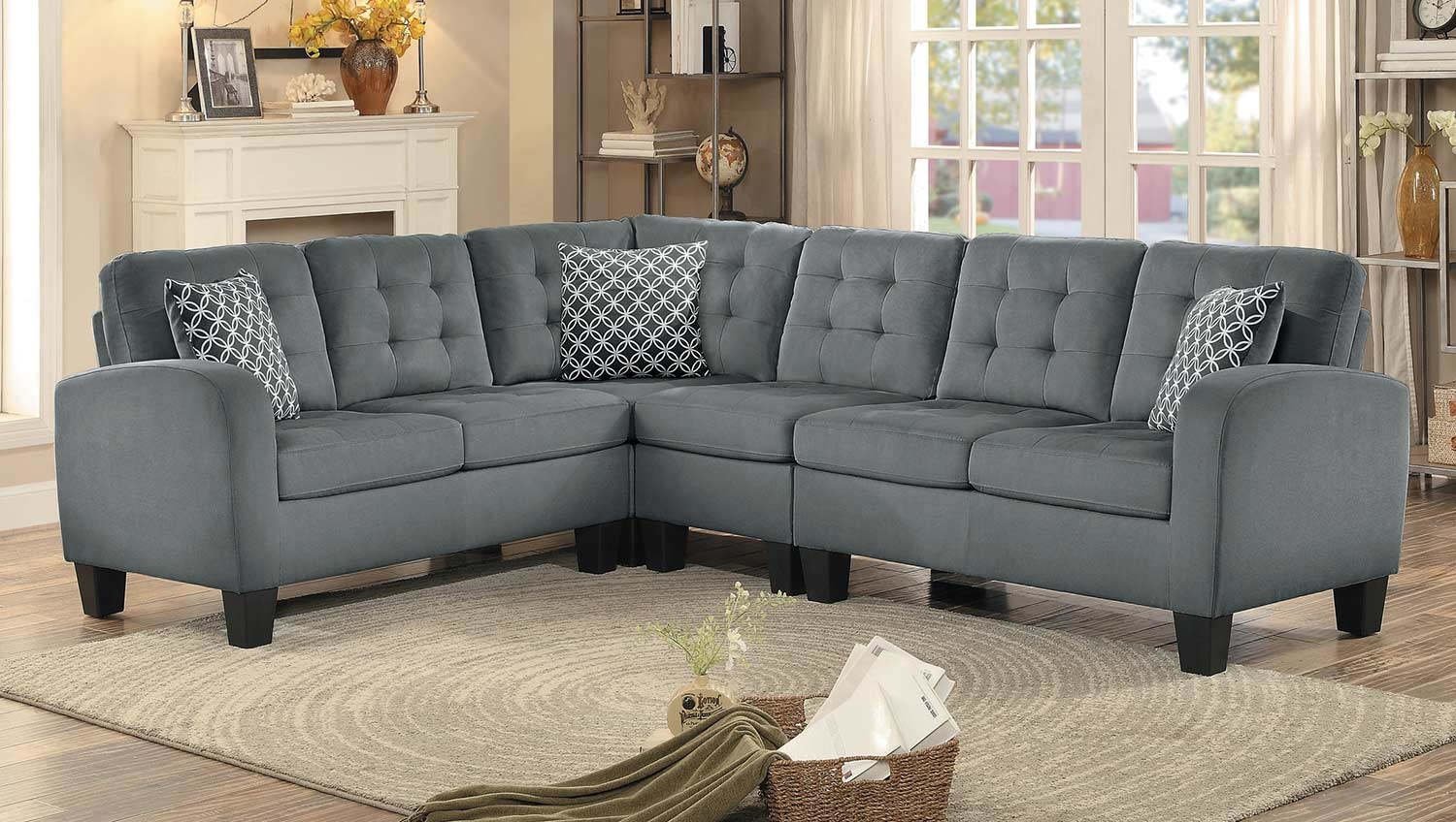 homelegance sinclair reversible sectional sofa gray fabric 8202gry