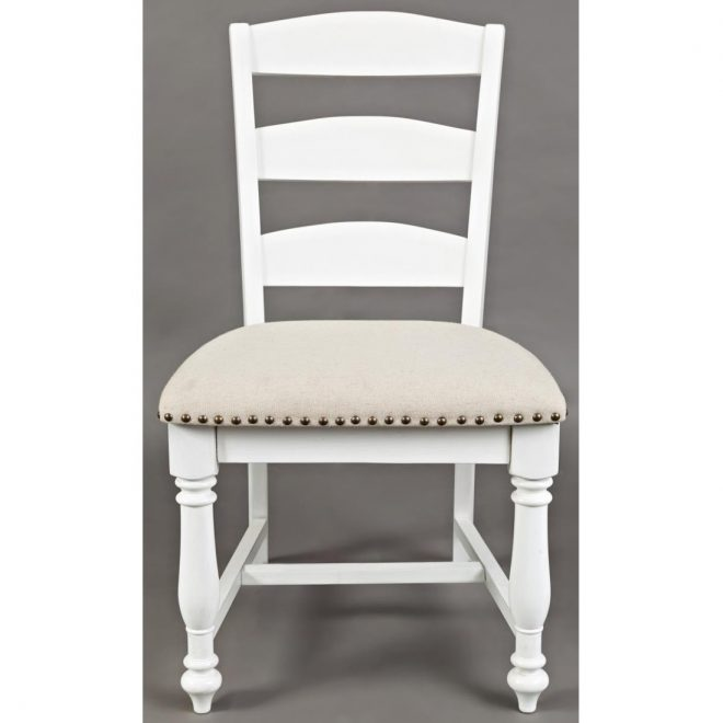 jofran castle hill ladderback upholstered seat dining chair in white