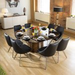 large luxury square eucalyptus dining table 8 black modern chairs