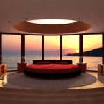 lovely bedroom designs with large glass window and round hole