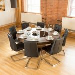 luxury large round elm dining table lazy susan 8 chairs