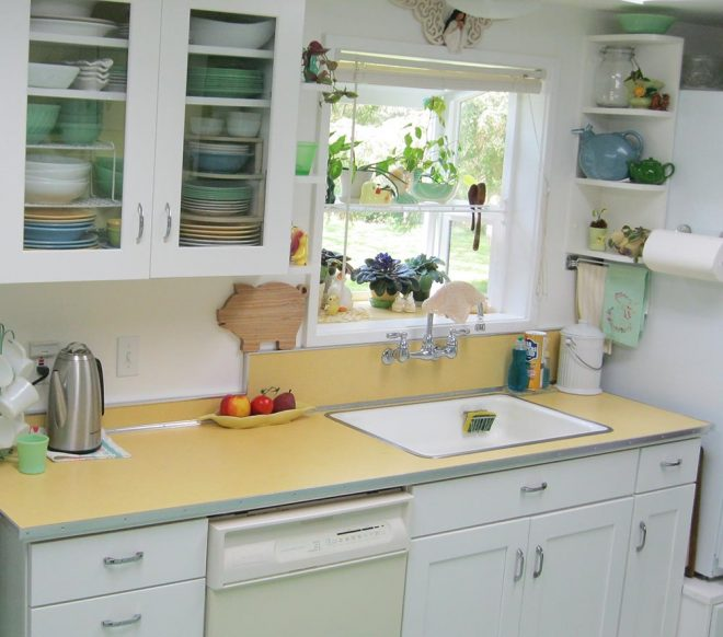maile remodels a dark 1970s kitchen into a sunny 1940s delight