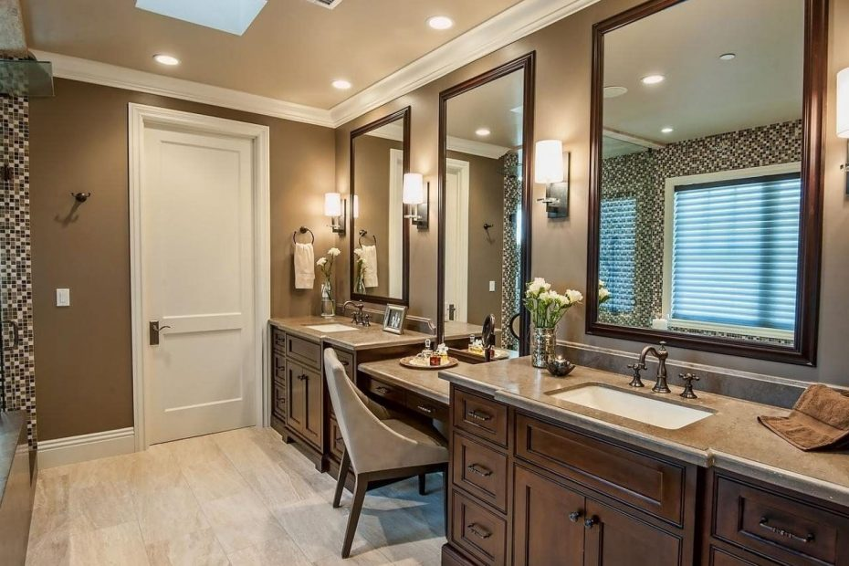 master bath with makeup vanity double sink vanity with