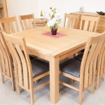 minsk 130cm large square oak dining table seating 8 home