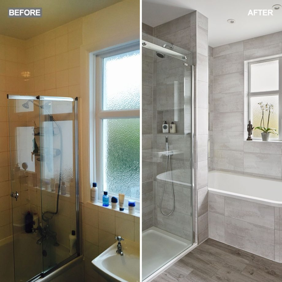 modern grey bathroom makeover with separate shower and bath