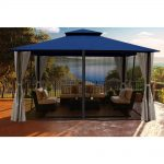 paragon outdoor paragon 11 ft x 14 ft gazebo with navy color roofand privacy curtains and mosquito netting