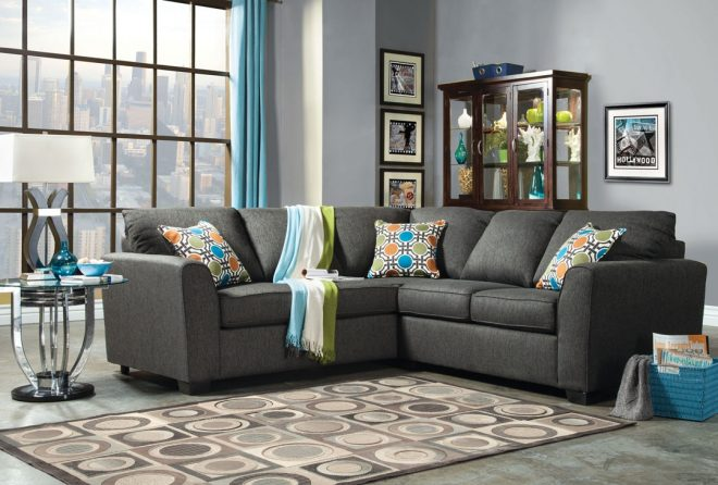 playa transitional style gray fabric sectional sofa couch shop for