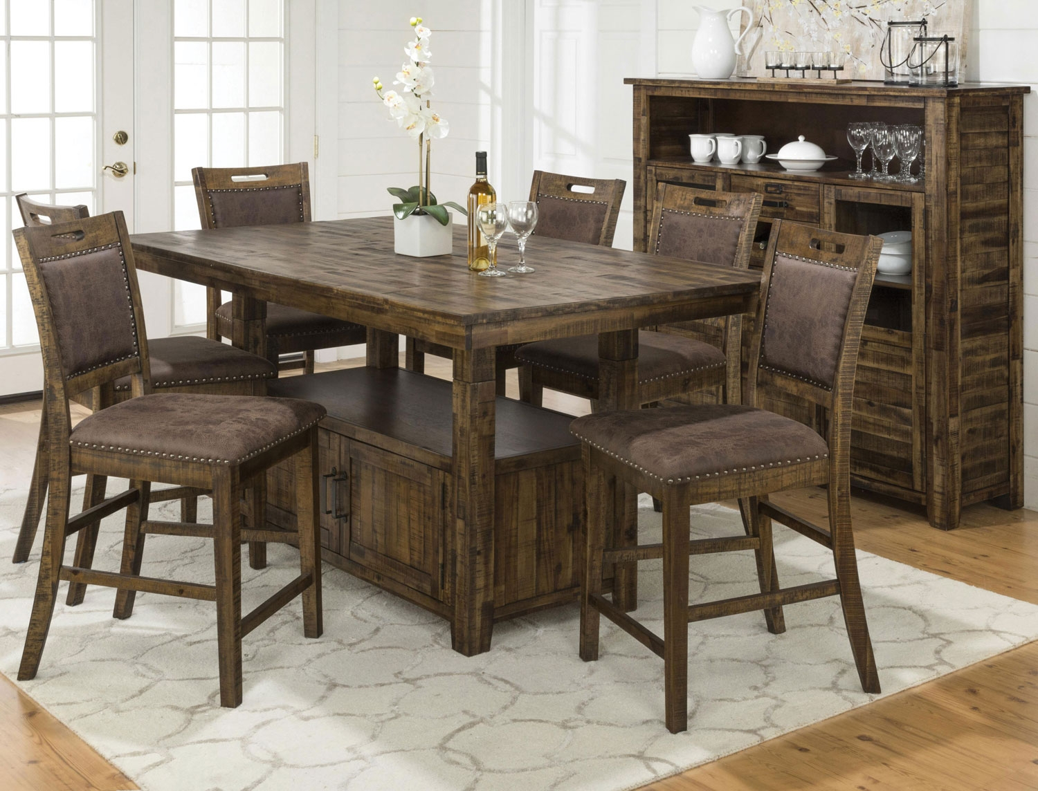 reign adjustable height table and 4 counter height chairs