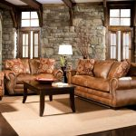 rustic living room furniture set with brown leather sofa