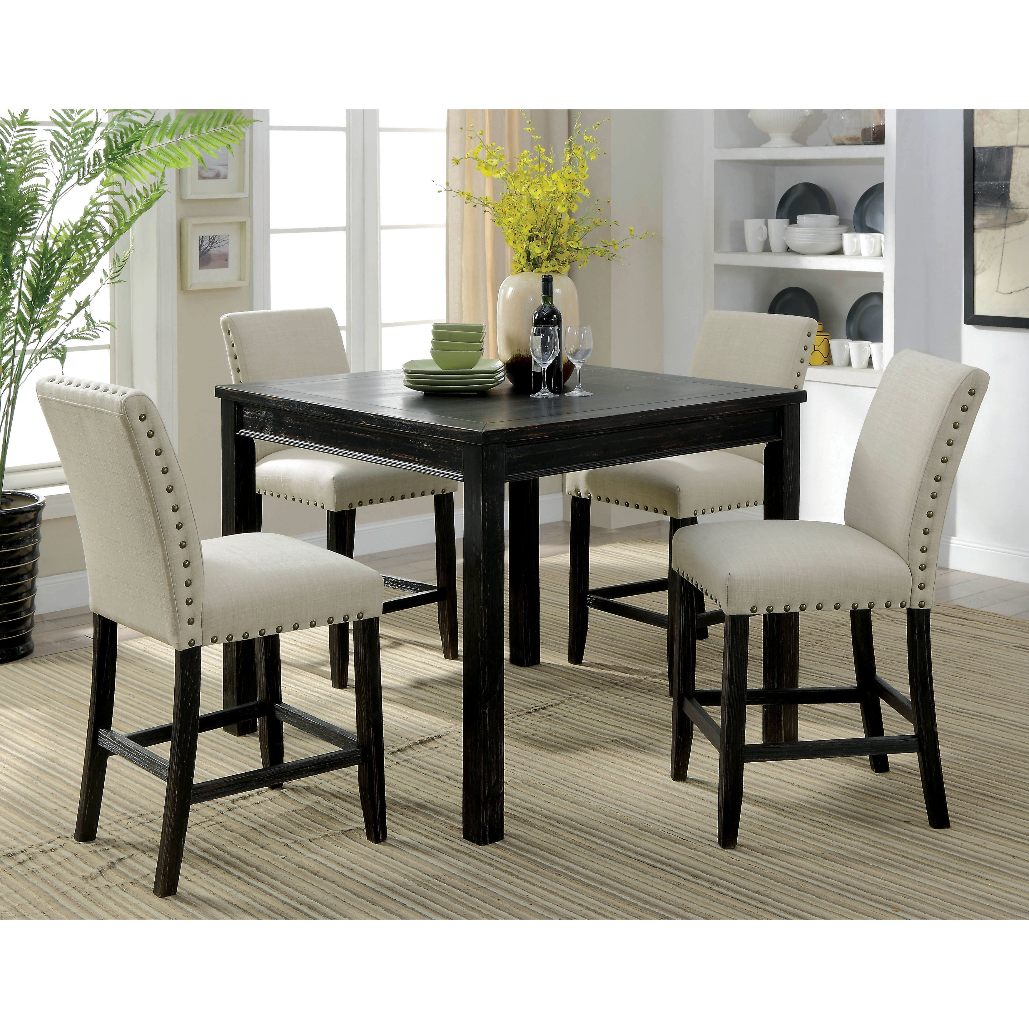 shop delewarn rustic antique black 5 piece counter height dining set