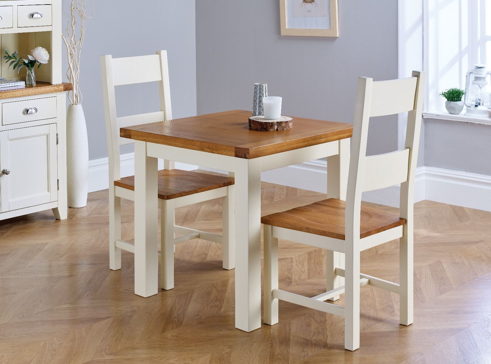 small cream painted square oak dining table free delivery top