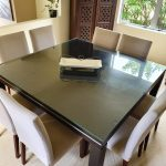 square dining table 8 suede chairs