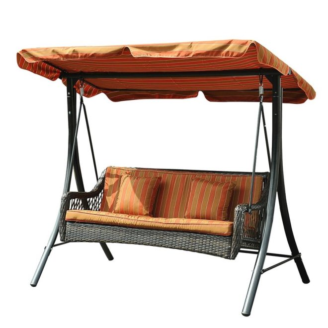 sunjoy 3 person black steel outdoor swing at lowes
