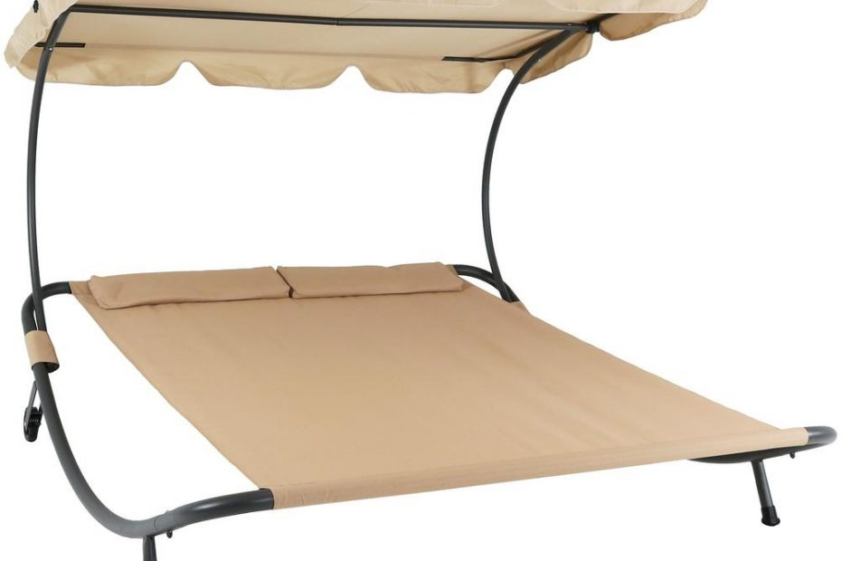 sunnydaze decor sling double outdoor chaise lounge bed with canopy and headrest pillow