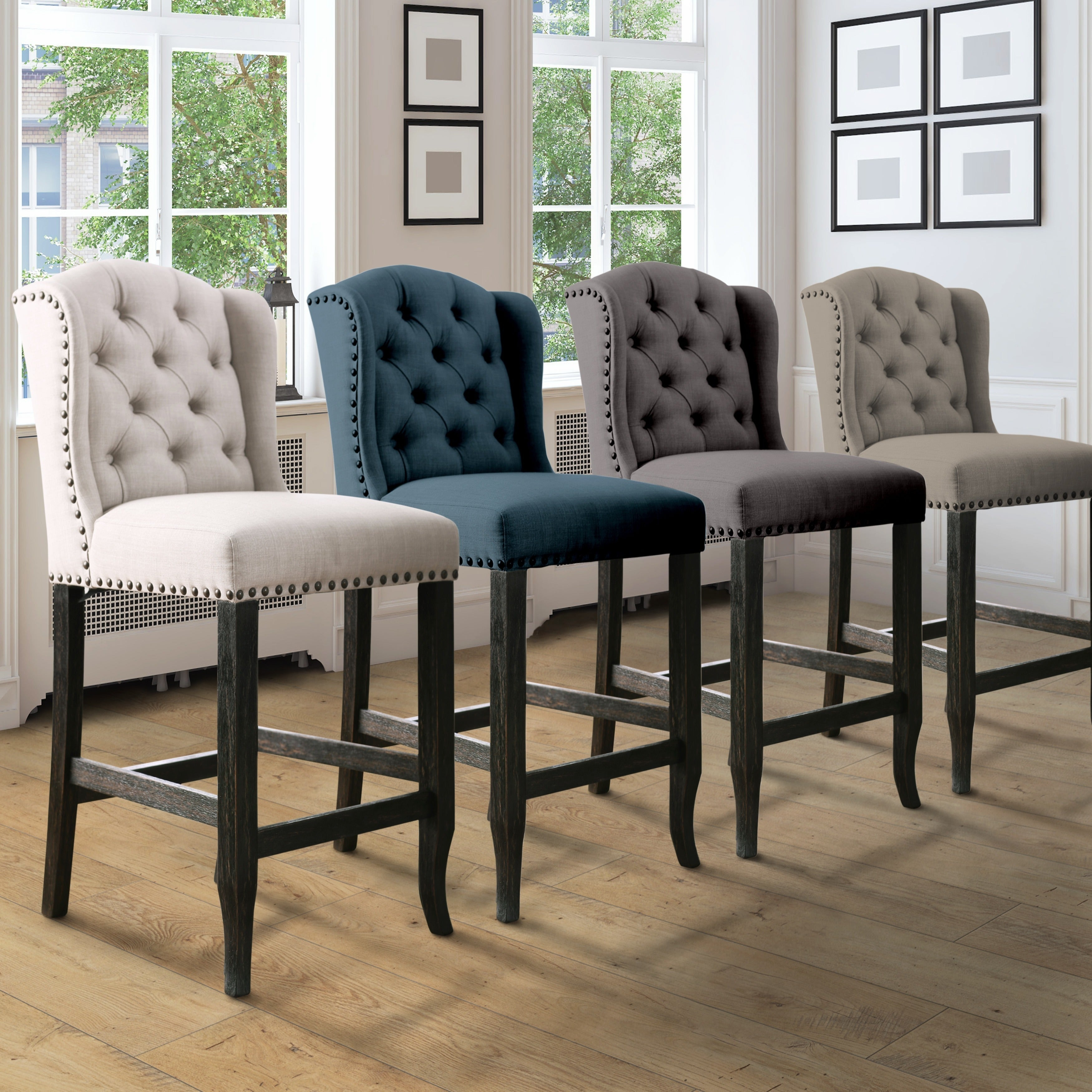 telara contemporary tufted wingback 24 inch counter height chair set of 2 foa