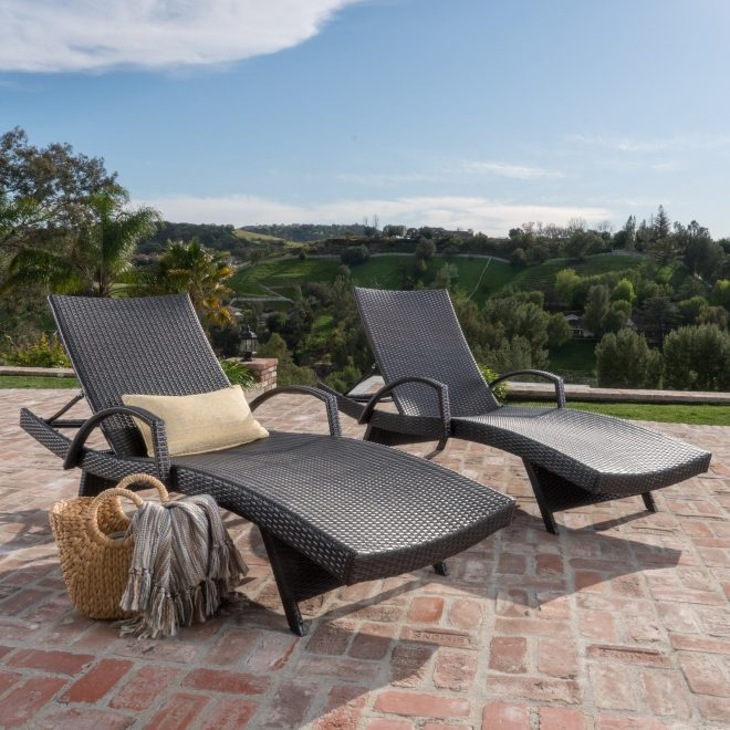 toscana outdoor wicker armed chaise lounge chair set of 2 christopher knight home