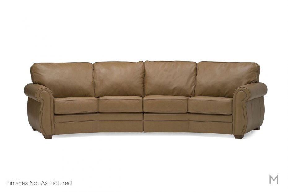 viceroy angled leather sectional in top grain gray leather