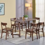 vintage style 7 piece walnut dining table set rectangular wood table with 6 chairs