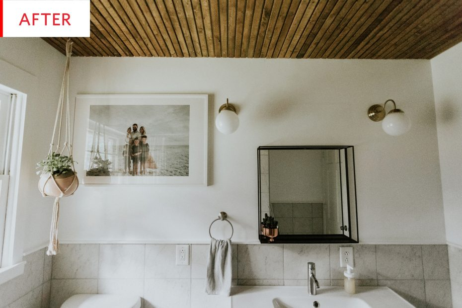 wood slat ceiling bathroom remodel photos apartment therapy
