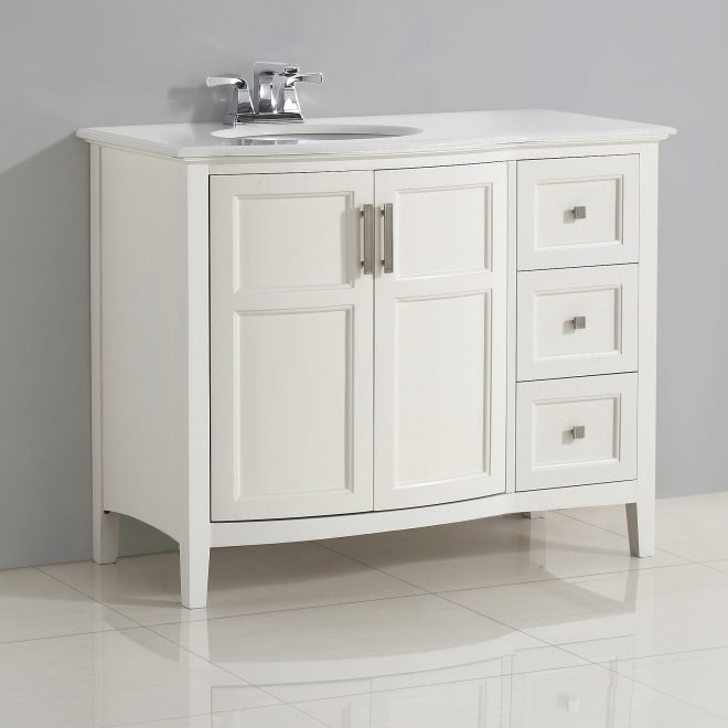wyndenhall salem 42 inch contemporary bath vanity in soft white with bombay white engineered quartz marble top